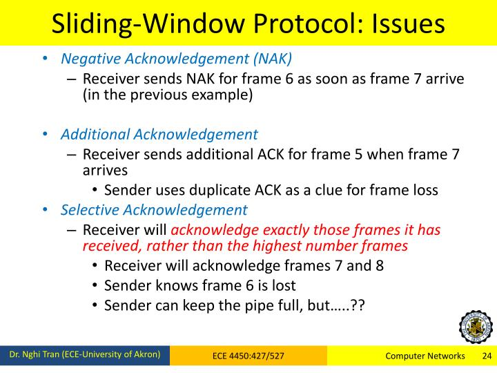 Sliding-Window Protocol: Issues