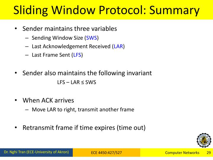 Sliding Window Protocol: Summary