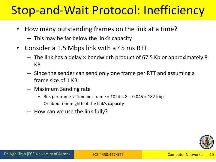 Stop-and-Wait Protocol: Inefficiency