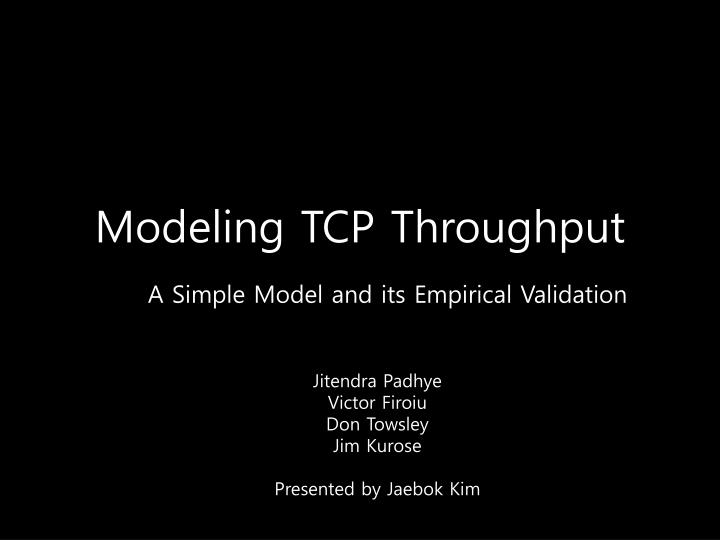 modeling tcp throughput