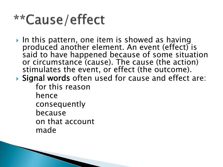 **Cause/effect