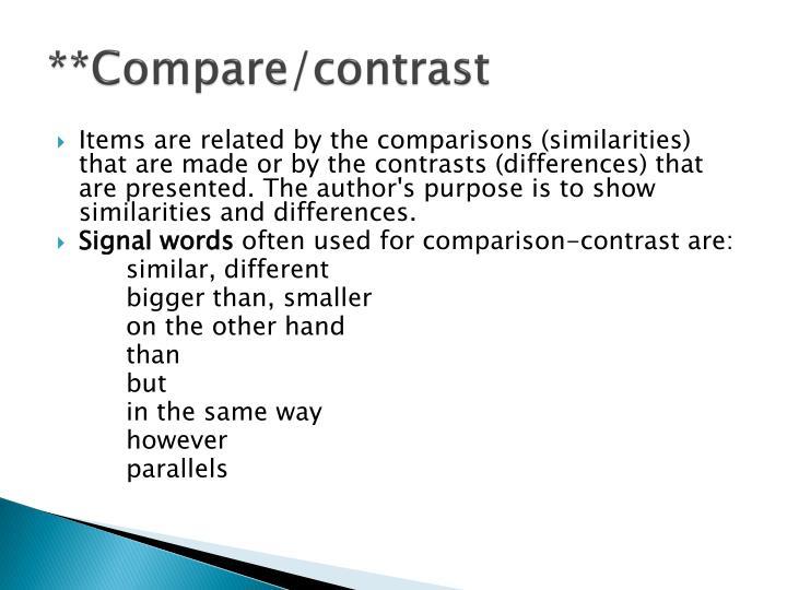 **Compare/contrast
