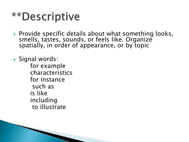 **Descriptive