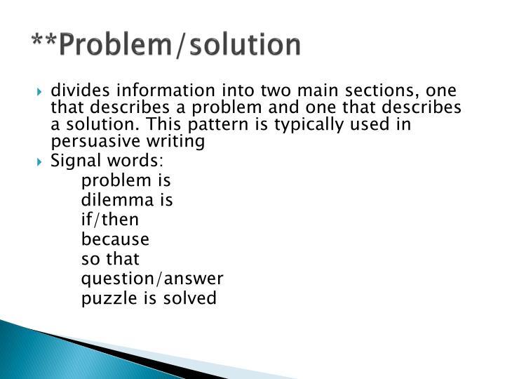 **Problem/solution