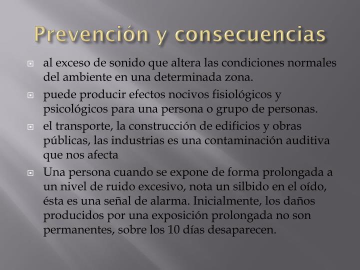 Prevención y consecuencias