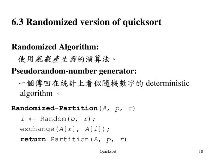 6.3 Randomized version of quicksort