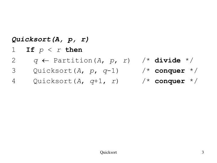 Quicksort(A, p, r)