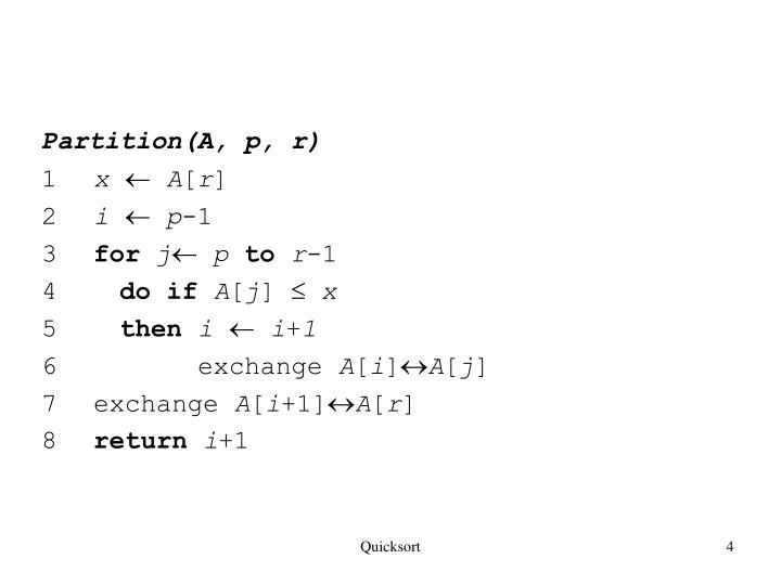 Partition(A, p, r)