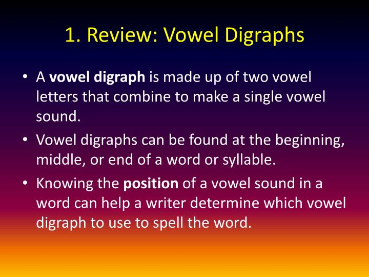 1. Review: Vowel Digraphs