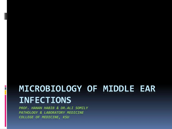 Microbiology of Middle Ear Infections
