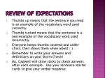 review of expectations
