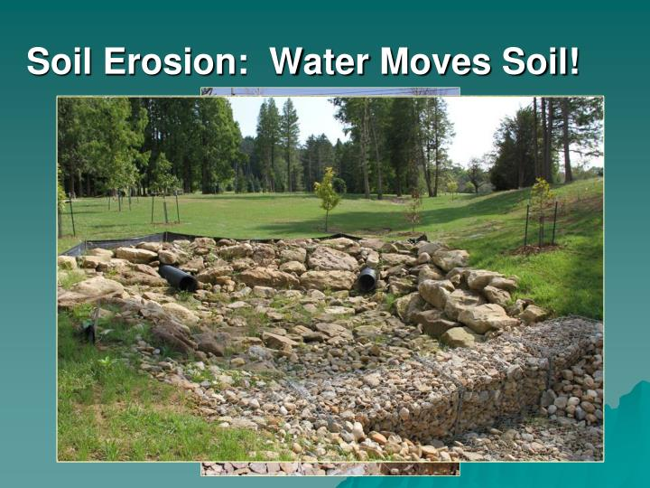 Soil erosion water moves soil