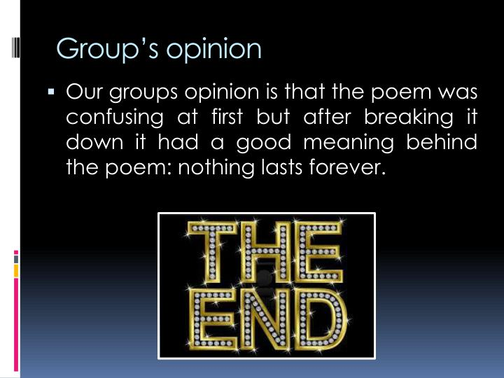 Group's opinion
