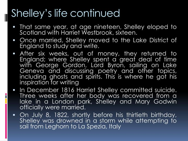 Shelley's life continued