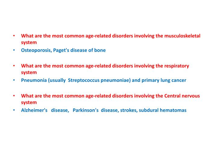 What are the most common age-related disorders involving the musculoskeletal system