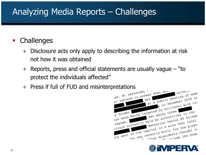Analyzing Media Reports – Challenges