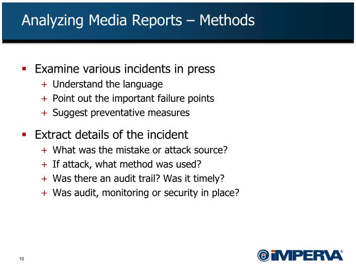 Analyzing Media Reports – Methods