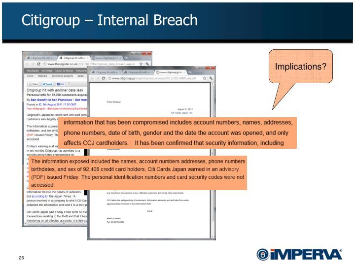 Citigroup – Internal Breach