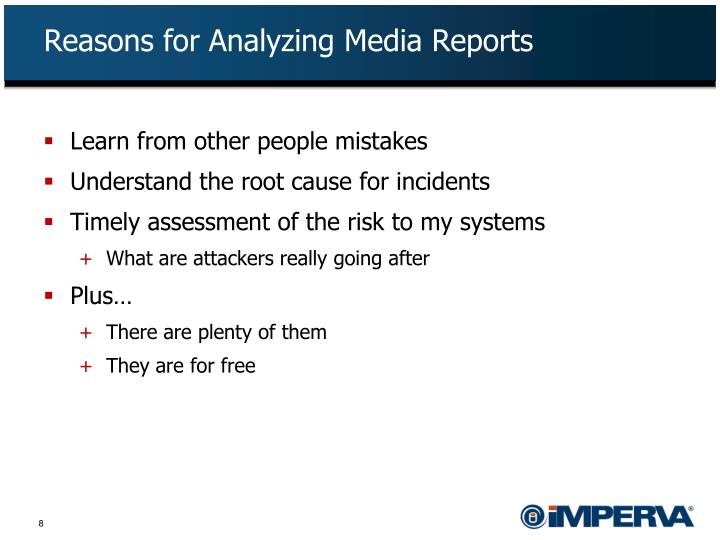 Reasons for Analyzing Media Reports