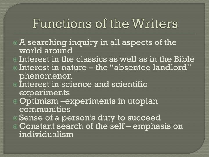 Functions of the Writers