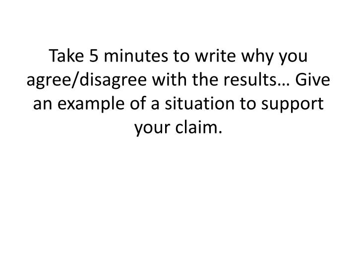 Take 5 minutes to write why you agree/disagree with the results… Give an example of a situation to support your claim.