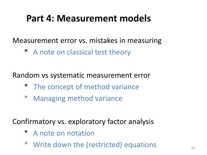 Part 4: Measurement models
