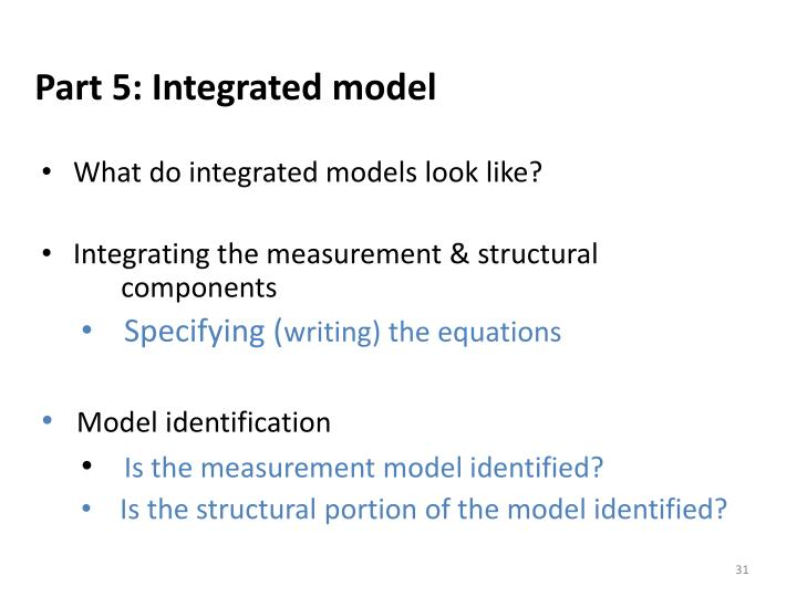 Part 5: Integrated model