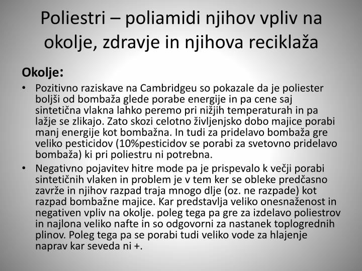 Poliestri – poliamidi