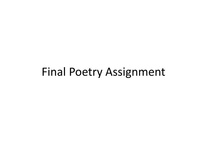 Final p oetry assignment