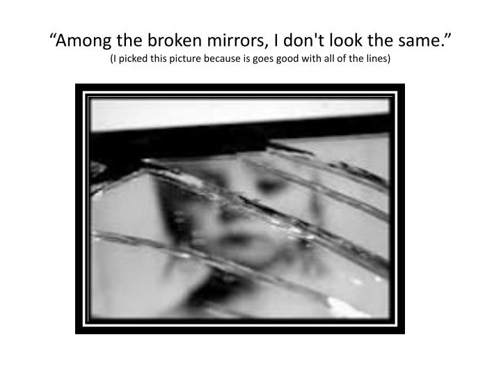 """Among the broken mirrors, I don't look the same."""