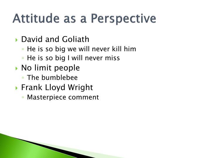 Attitude as a Perspective