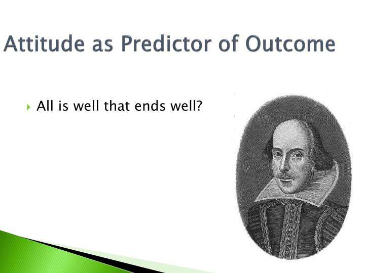 Attitude as Predictor of Outcome