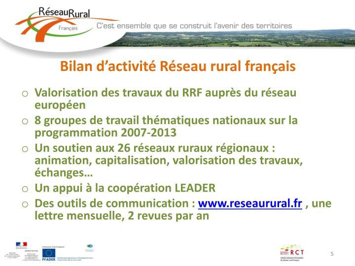 Bilan d'activité Réseau rural français