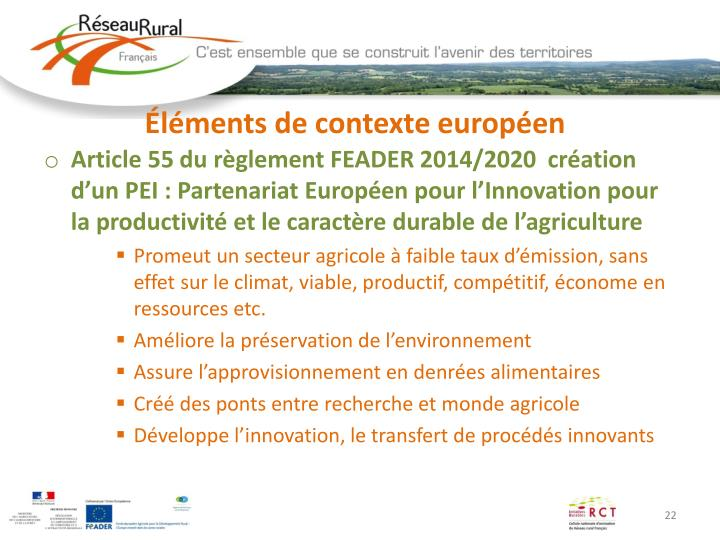 Éléments de contexte européen