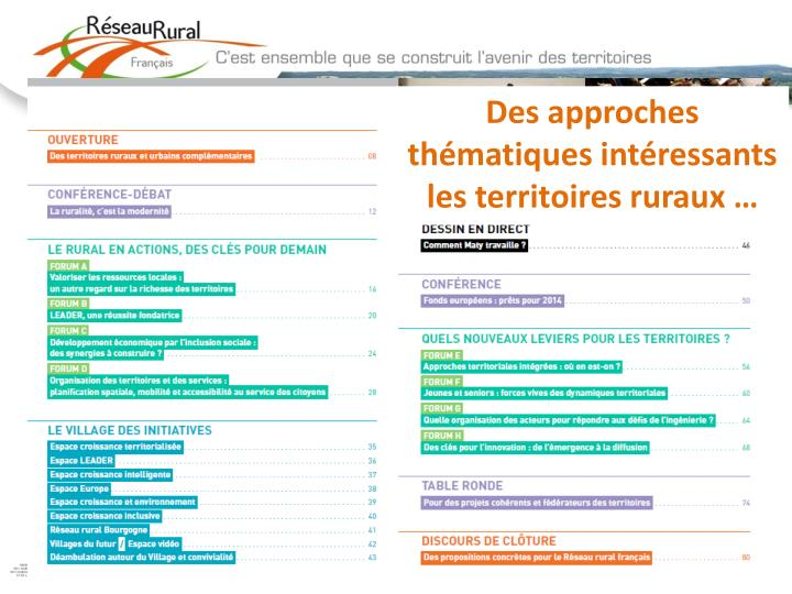 Des approches thématiques intéressants les territoires ruraux …