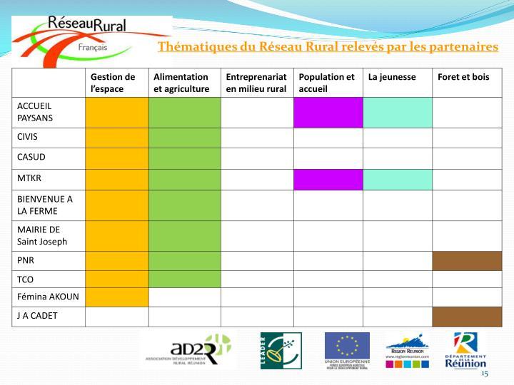 Thématiques du Réseau Rural relevés par les partenaires