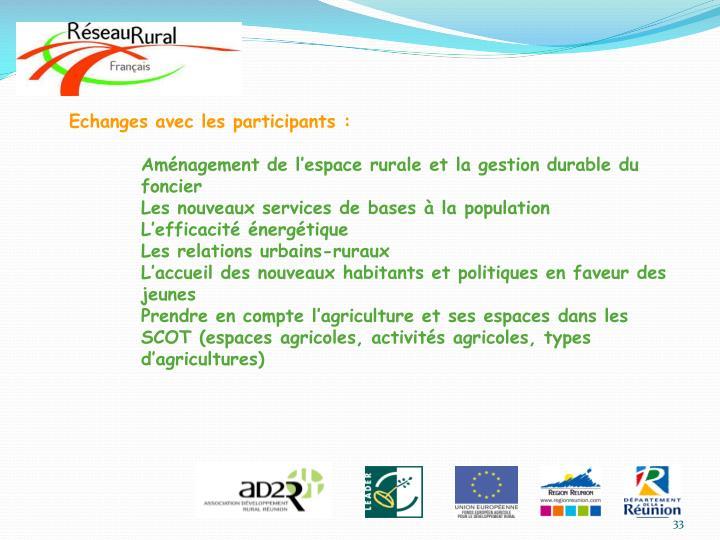 Echanges avec les participants :