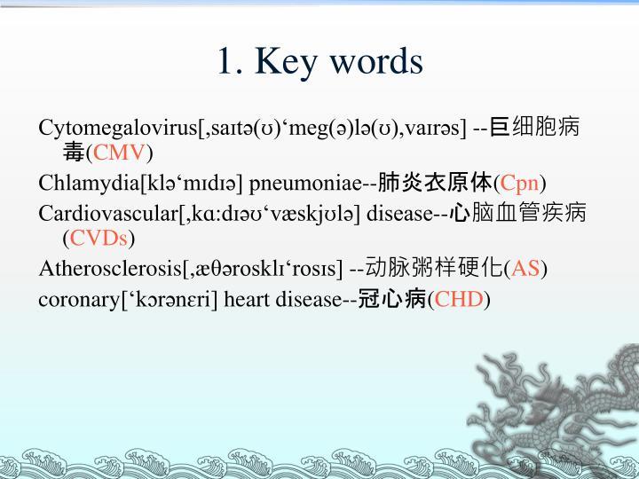 1. Key words