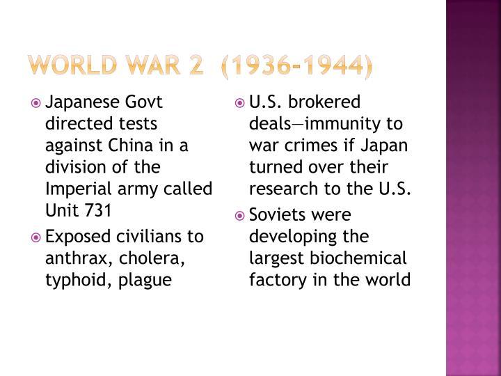World War 2  (1936-1944)