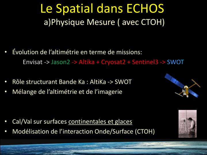 Le Spatial dans ECHOS