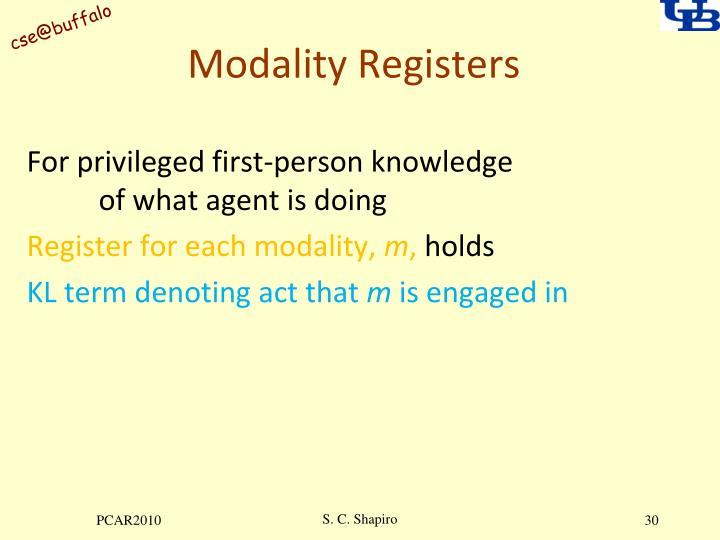 Modality Registers