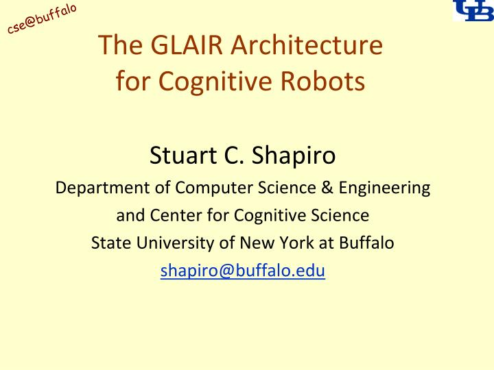 The glair architecture for cognitive robots