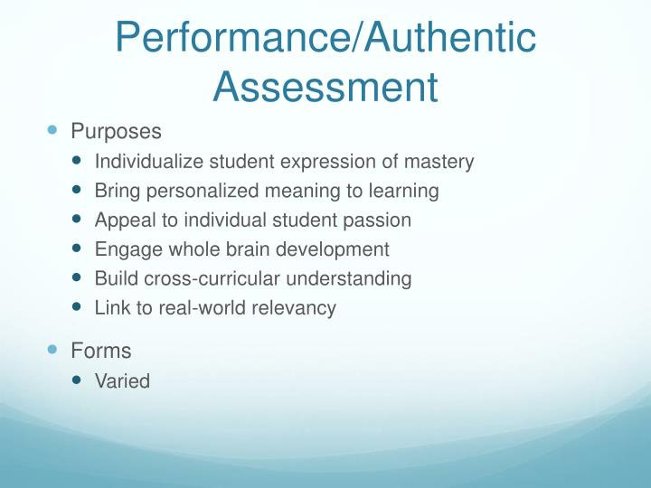 Performance/Authentic Assessment
