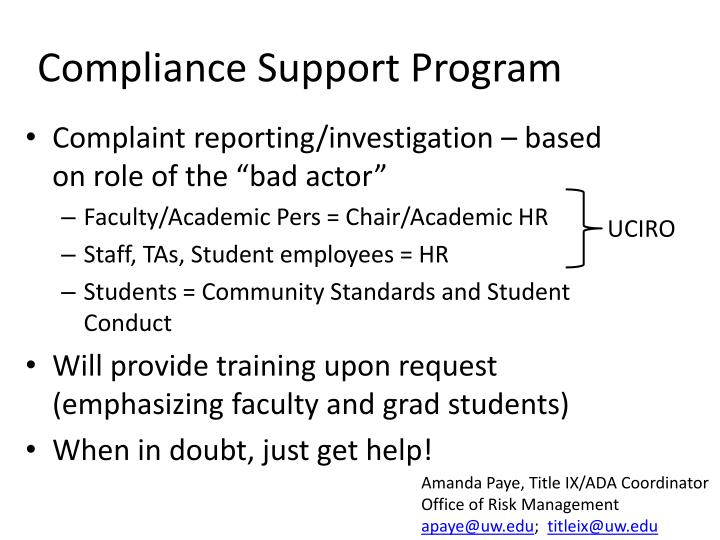 Compliance Support Program