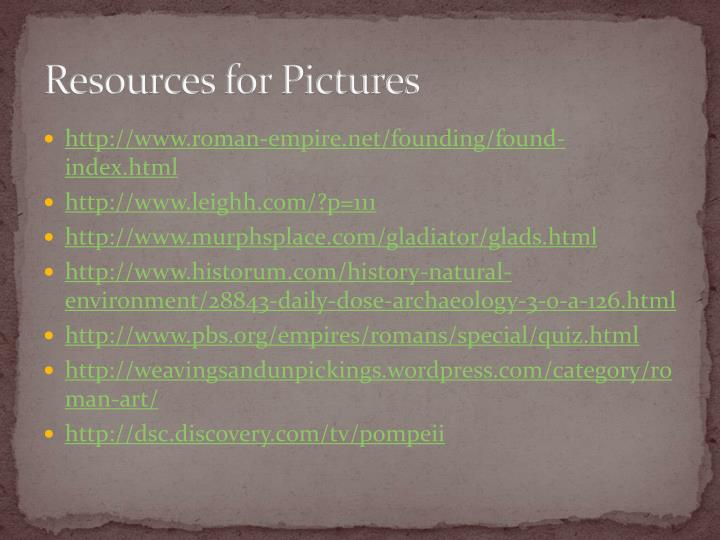 Resources for Pictures