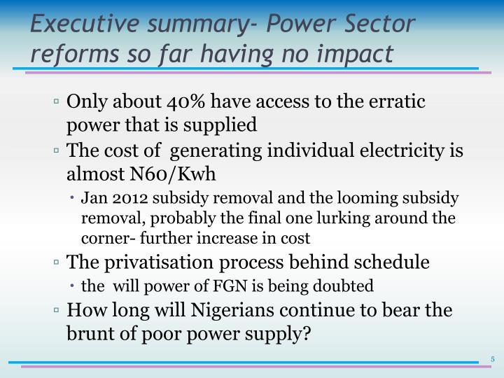 Executive summary- Power Sector reforms so far having no impact