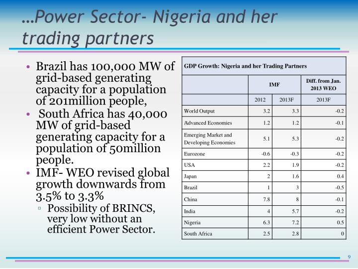 …Power Sector- Nigeria and her trading partners