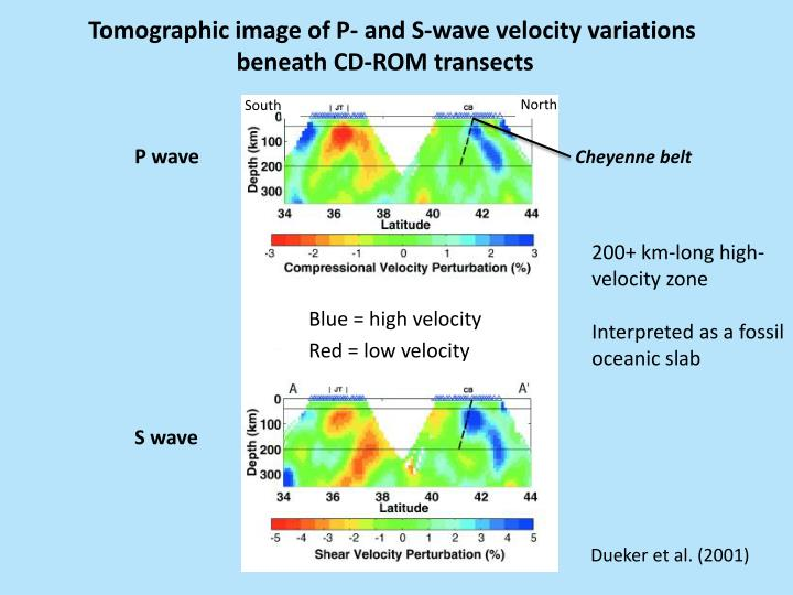 Tomographic image of P- and S-wave velocity