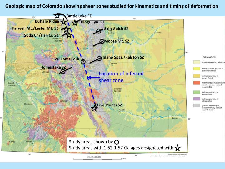 Geologic map of Colorado showing shear zones studied for kinematics and timing of deformation