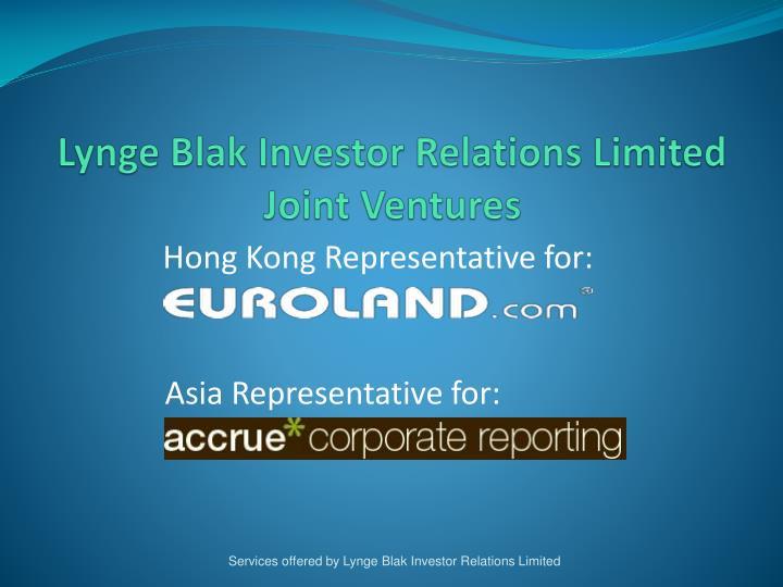 Lynge Blak Investor Relations Limited